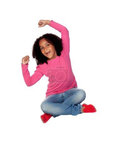 Little african girl celebrating something
