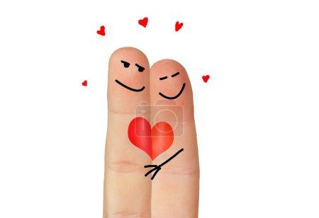Foto de Amor simbolizado con dos dedos pintados aisladas sobre fondo blanco - Imagen libre de derechos