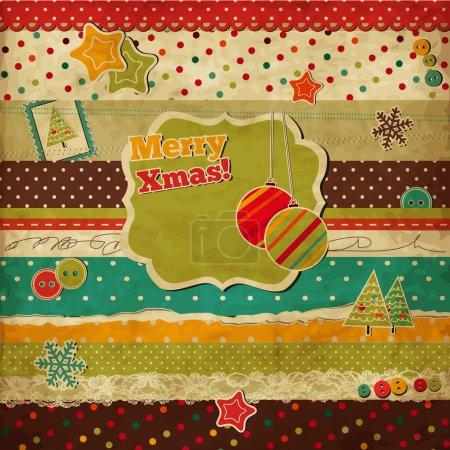 Illustration pour Scrap vintage carte de Noël avec cadre de vacances - image libre de droit