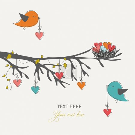 Illustration for Romantic card for Valentine's day, birds and hearts - Royalty Free Image