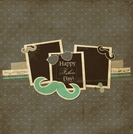 Illustration for Father's Day card, mustache and sunglasses scrap card with photo frames - Royalty Free Image