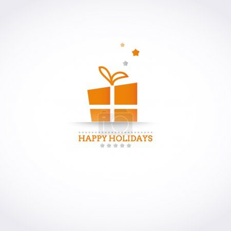 Stylized Happy Holiday card with holiday gift box and stars