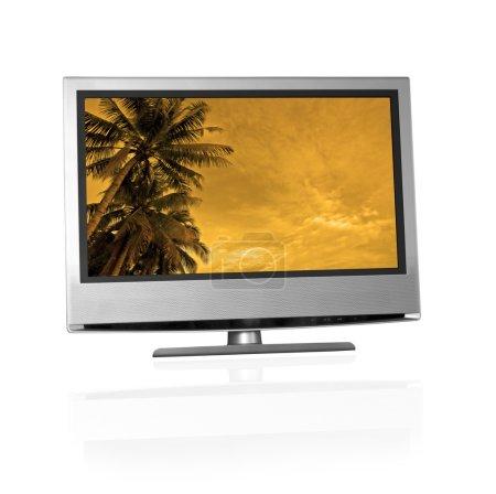 tropical landscape on flat screen tv