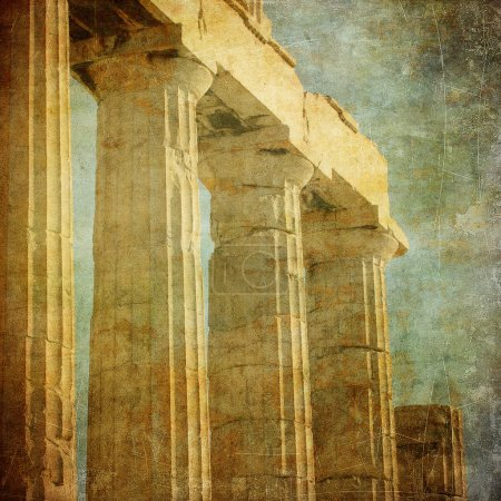 Photo for Vintage image of greek columns, Acropolis, Athens, Greece - Royalty Free Image