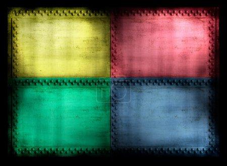 4 color riveted grunge background