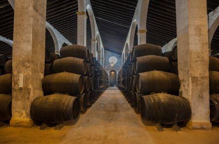 Photo pour Fûts de Sherry dans la bodega de jerez, Espagne - image libre de droit