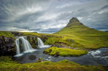 Kirkjufellsfoss waterfall and Kirkjufell mountain, Iceland