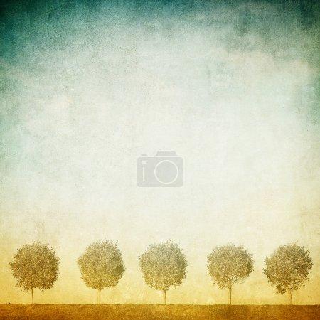 Photo for Grunge image of trees over grunge background - Royalty Free Image