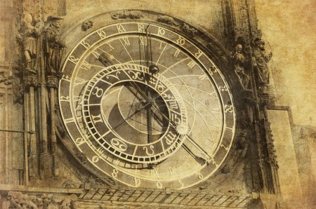 Vintage image of Prague Astronomical Clock