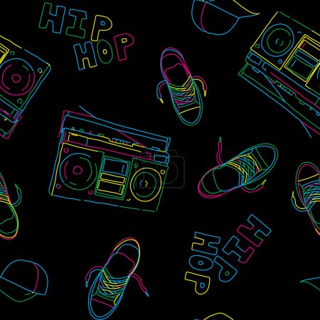 Hip hop music seamless pattern