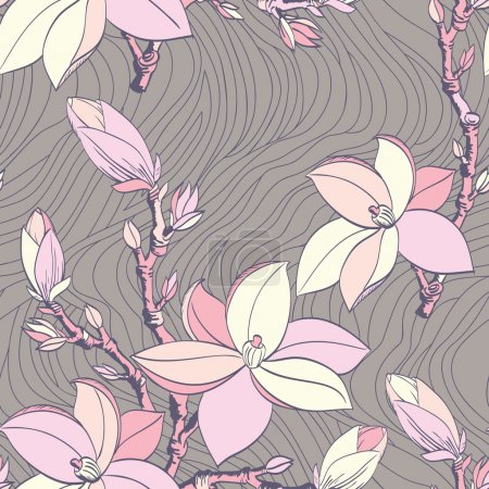 Illustration for Beautiful seamless vintage wallpaper with magnolia flower - Royalty Free Image
