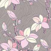 Seamless vintage pattern with magnolia flower