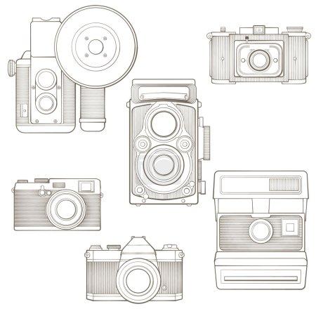 Vintage photo cameras set. Vector illustration.