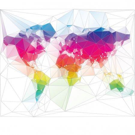 colored world map triangle design