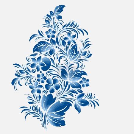 Illustration pour Ornement de fleurs bleues, style russe gzhel - image libre de droit