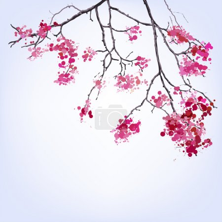 Illustration for Spring Blooming Sakura branch of blots background design - Royalty Free Image