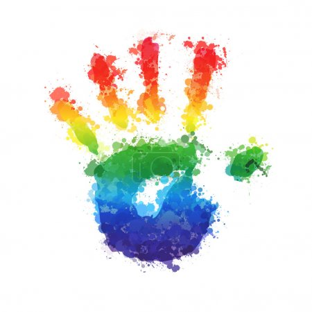 Illustration for Splashed vector childrens hand prints - Royalty Free Image