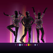 Go-Go girls night party vector background