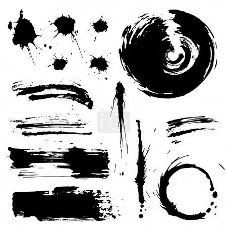 Grunge blots and splash vector silhouette