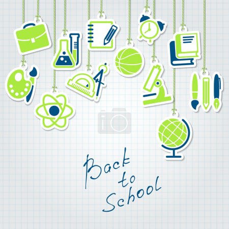 Illustration for Back to school concept and school icon set - Royalty Free Image