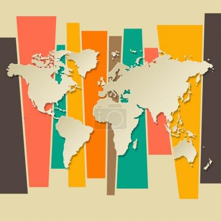 Illustration pour Vecteur monde carte 3d rétro fond de papier - image libre de droit