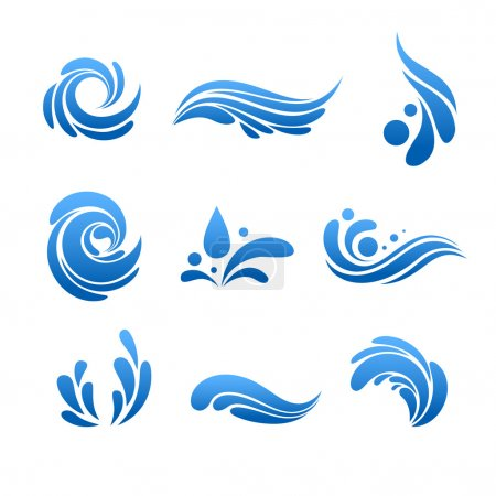 Water drop and splash icon vector set
