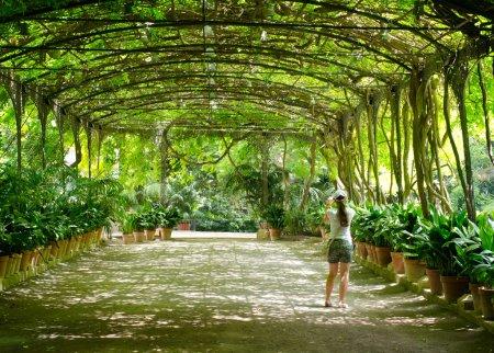 Photo pour Jeune femme bénéficie de jardins botaniques - image libre de droit