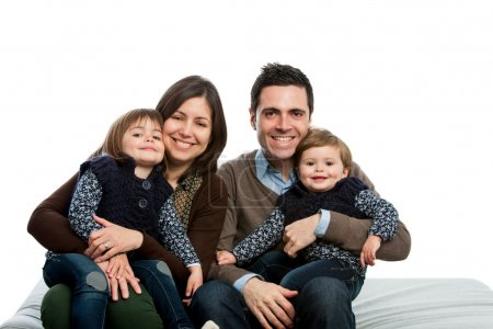 Photo for Close up portrait of young family on couch.isolated. - Royalty Free Image