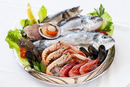 Photo for Close up of fresh mediterranean seafood on ice. - Royalty Free Image