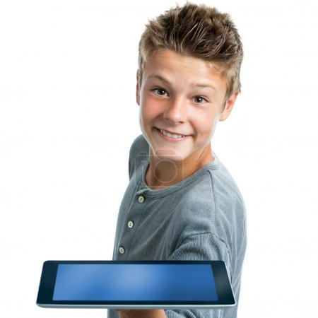 Hansome teen showing blank tablet.