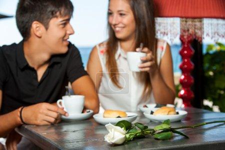 Couple on romantic coffee date.