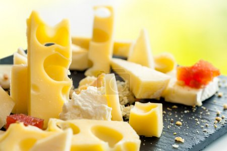 Photo for Extreme Close up of appetizing cheese assortment. - Royalty Free Image