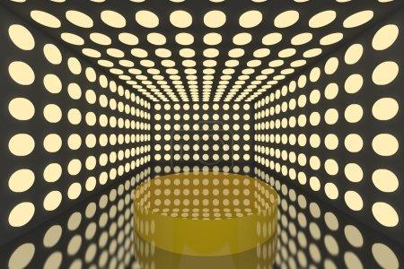 Foto de Podio de la sala vacía con esfera color abstracto iluminación amarilla y una pared negra - Imagen libre de derechos