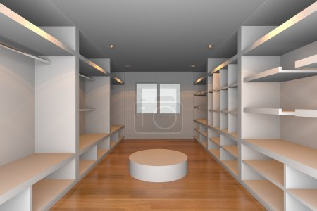 Photo for Mock-up for minimalist walk-in closet with white wall and tile floor. Ideal for ineterior design background. - Royalty Free Image