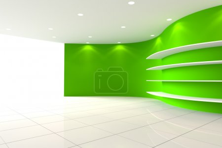 Curve green Wall Empty Room with Shelves