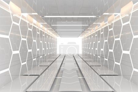 Photo for Futuristic Interior decorate white hexagon wall empty room with reflective materials - Royalty Free Image
