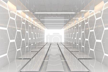 Foto de Futurista interior decorar hexagonal blanco pared cuarto vacío con materiales reflectantes - Imagen libre de derechos