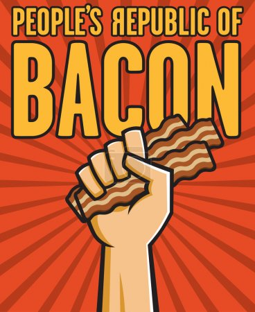 Vector Illustration of a fist holding bacon in the...