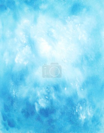 Abstract hand drawn watercolor background: blue sky and white clouds
