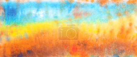 Abstract hand drawn watercolor background: fall landscape with blue sky and