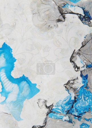 Abstract hand drawn paint background: blue and black patterns on gray backd