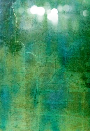 Foto de Abstract textured background: blue, green, and white patterns on dark backdrop. For art texture, grunge design, and vintage paper / border frame - Imagen libre de derechos