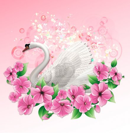 Wedding illustration with swan