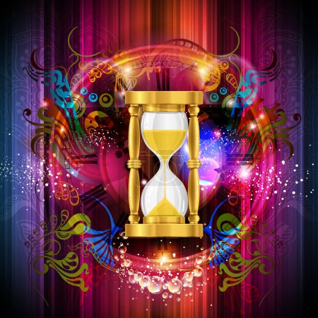 Sand trickles in an hourglass. Symbol as the time goes by.