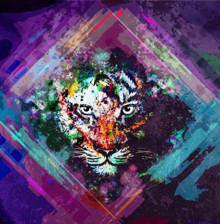 Photo pour Illustration colorée abstraite du tigre - image libre de droit
