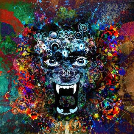Photo pour Abstrait animal tête illustration arrière-plan - image libre de droit
