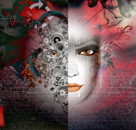 Photo for Abstract background with woman face - Royalty Free Image