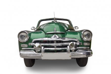"""Photo for Car M-20 """"Victory"""" 1946 -1958.  Green with a chrome bumper and the radiator grille details. Front view. - Royalty Free Image"""
