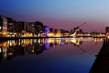 South bank of the river Liffey at Dublin City Center at night