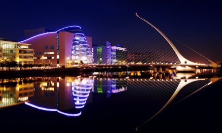 Convention Center and Samuel Beckett Bridge in Dublin City Centre